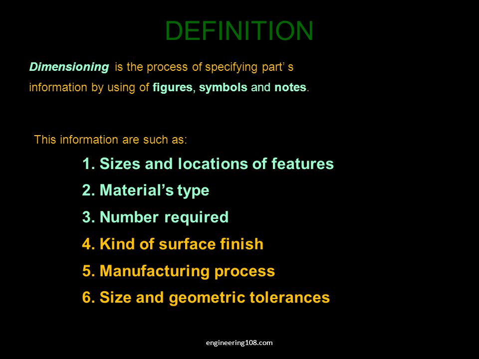 DEFINITION engineering108.com Dimensioning is the process of specifying part s information by using of figures, symbols and notes.