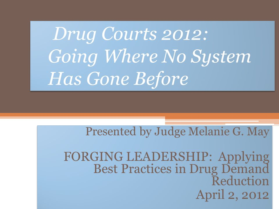 Drug Courts 2012: Going Where No System Has Gone Before Presented by Judge Melanie G. May FORGING LEADERSHIP: Applying Best Practices in Drug Demand R