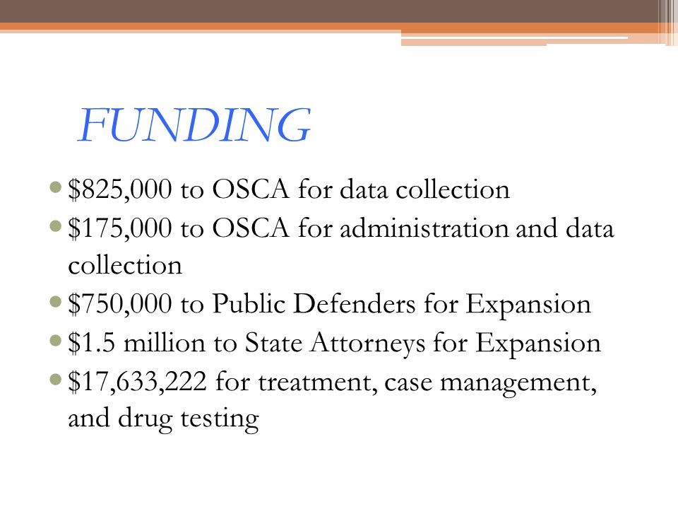 FUNDING $825,000 to OSCA for data collection $175,000 to OSCA for administration and data collection $750,000 to Public Defenders for Expansion $1.5 m