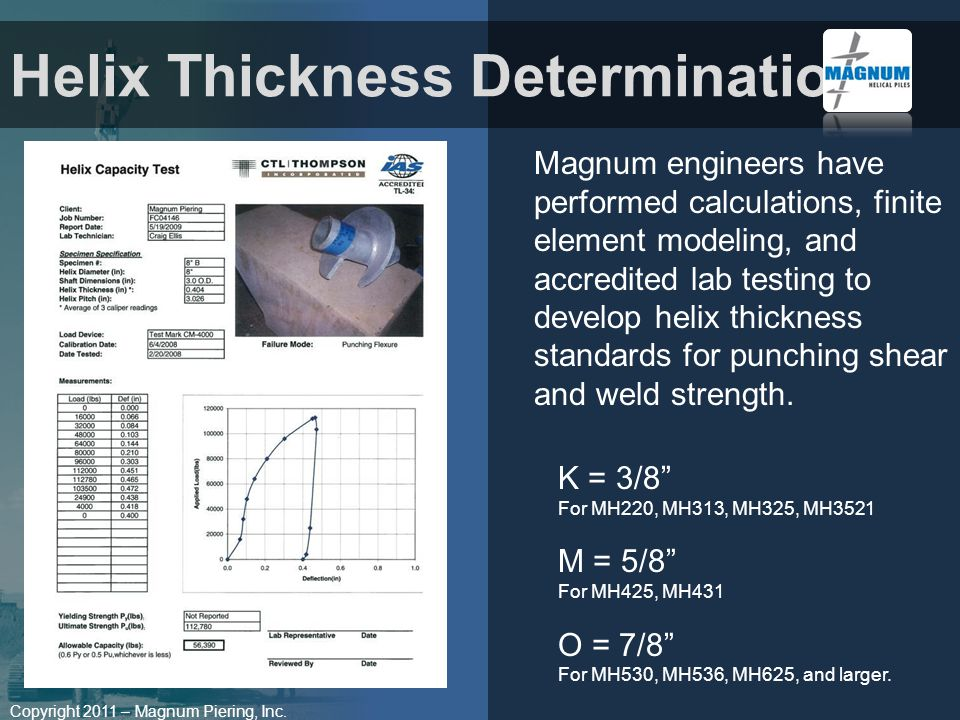 Copyright 2011 – Magnum Piering, Inc. Magnum engineers have performed calculations, finite element modeling, and accredited lab testing to develop hel