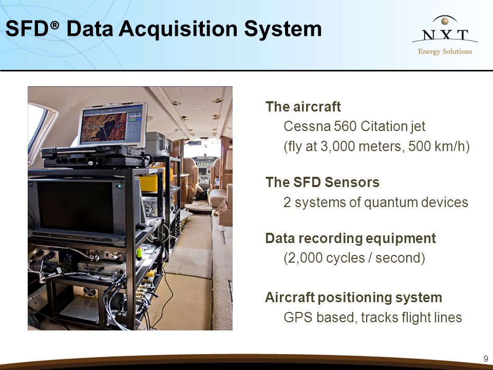 The aircraft Cessna 560 Citation jet (fly at 3,000 meters, 500 km/h) The SFD Sensors 2 systems of quantum devices Data recording equipment (2,000 cycl