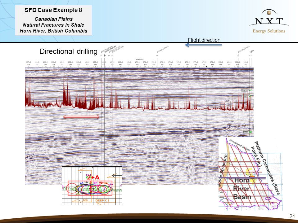 SFD Case Example 8 Canadian Plains Natural Fractures in Shale Horn River, British Columbia 24 Directional drilling Flight direction
