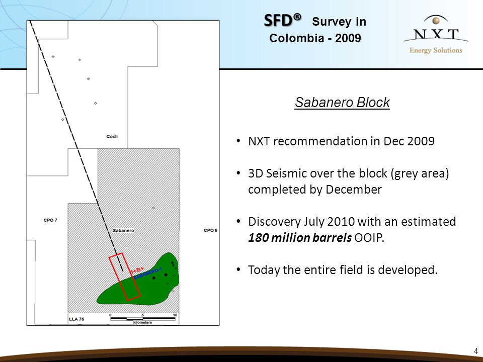 4 SFD® SFD® Survey in Colombia - 2009 NXT recommendation in Dec 2009 3D Seismic over the block (grey area) completed by December Discovery July 2010 w