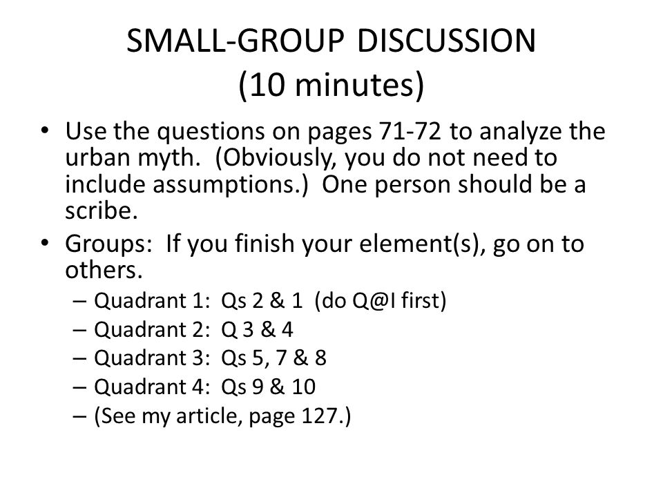 SMALL-GROUP DISCUSSION (10 minutes) Use the questions on pages 71-72 to analyze the urban myth. (Obviously, you do not need to include assumptions.) O