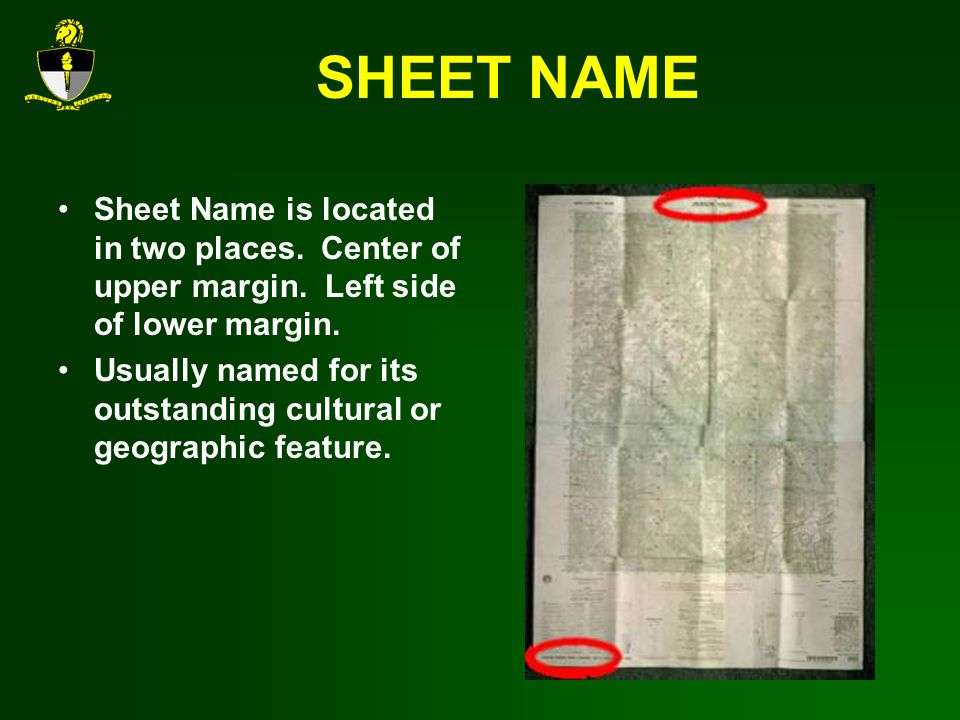 SHEET NAME Sheet Name is located in two places.Center of upper margin.