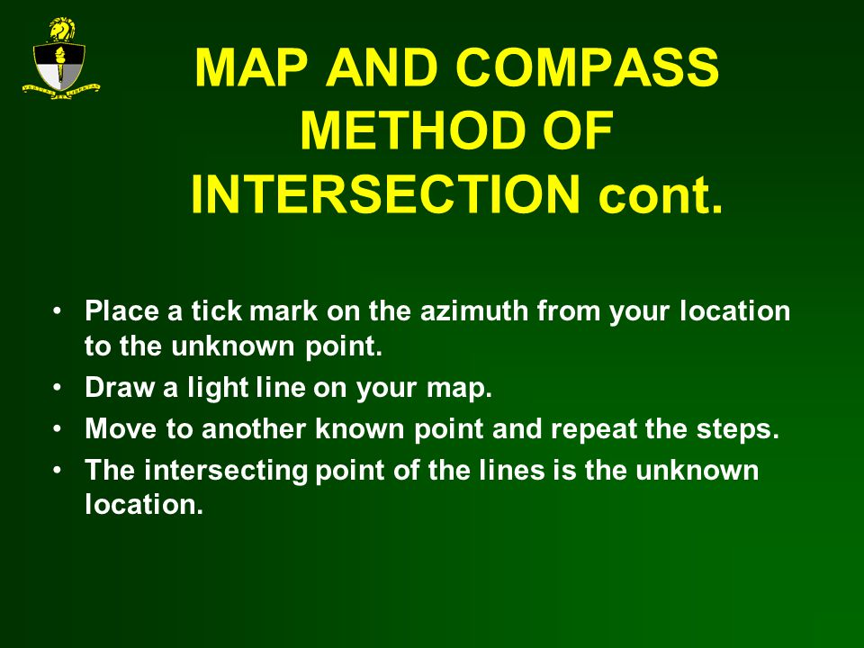 MAP AND COMPASS METHOD OF INTERSECTION cont.
