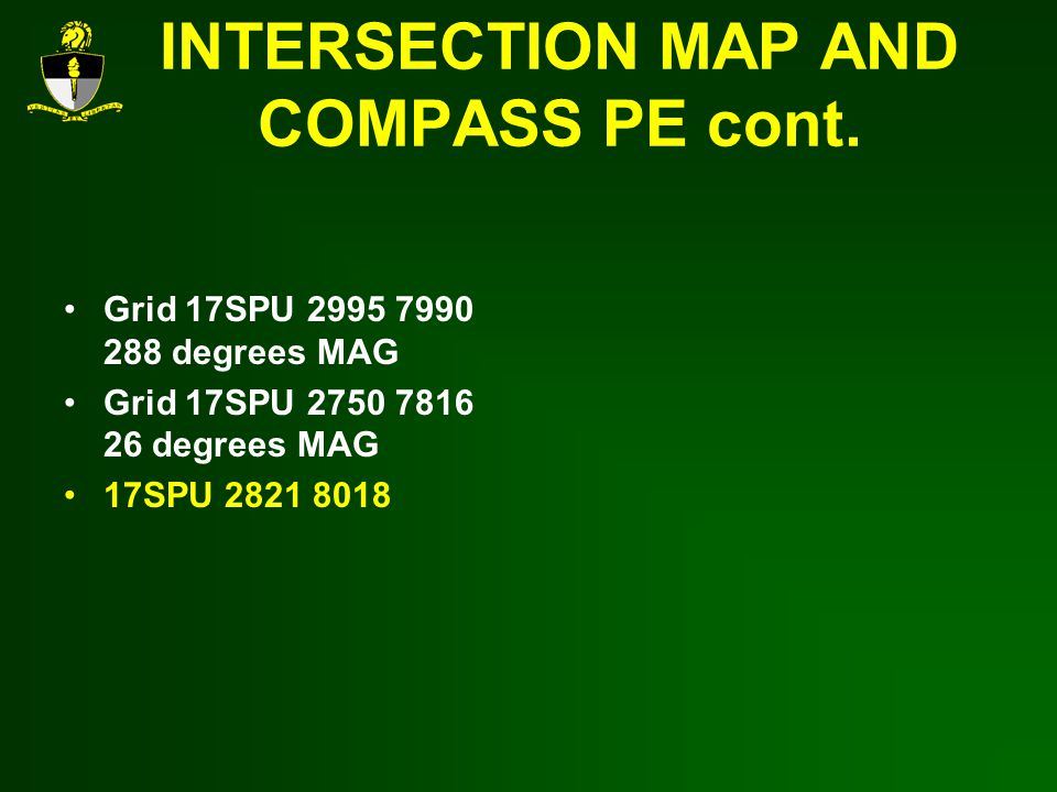 INTERSECTION MAP AND COMPASS PE cont.