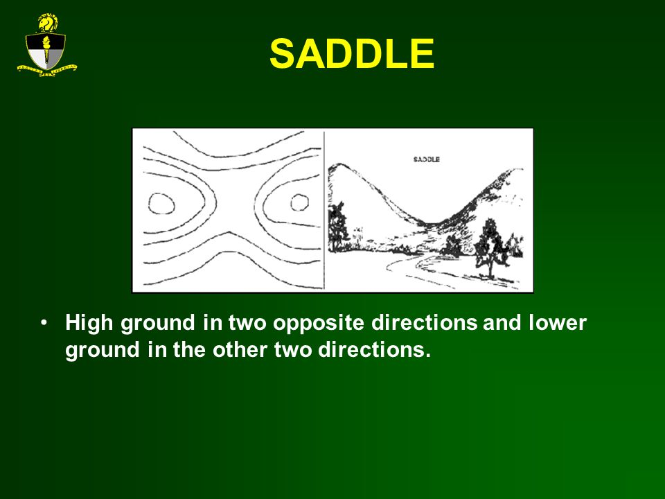 SADDLE High ground in two opposite directions and lower ground in the other two directions.