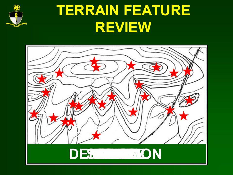 TERRAIN FEATURE REVIEW HILLVALLEYRIDGESADDLEDEPRESSIONDRAWSPURCLIFFCUTFILL
