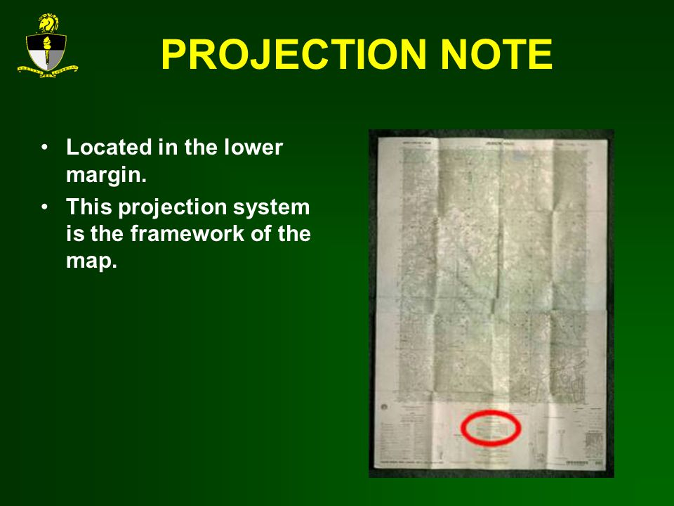 PROJECTION NOTE Located in the lower margin. This projection system is the framework of the map.