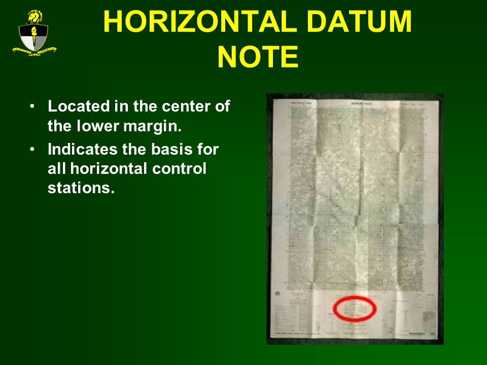 HORIZONTAL DATUM NOTE Located in the center of the lower margin.