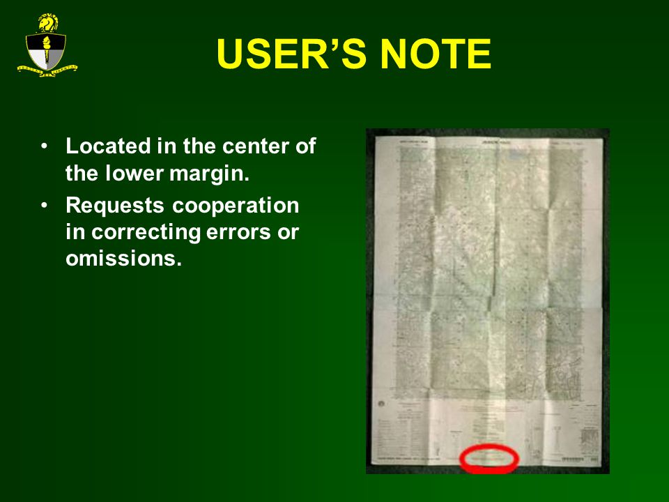 USERS NOTE Located in the center of the lower margin.