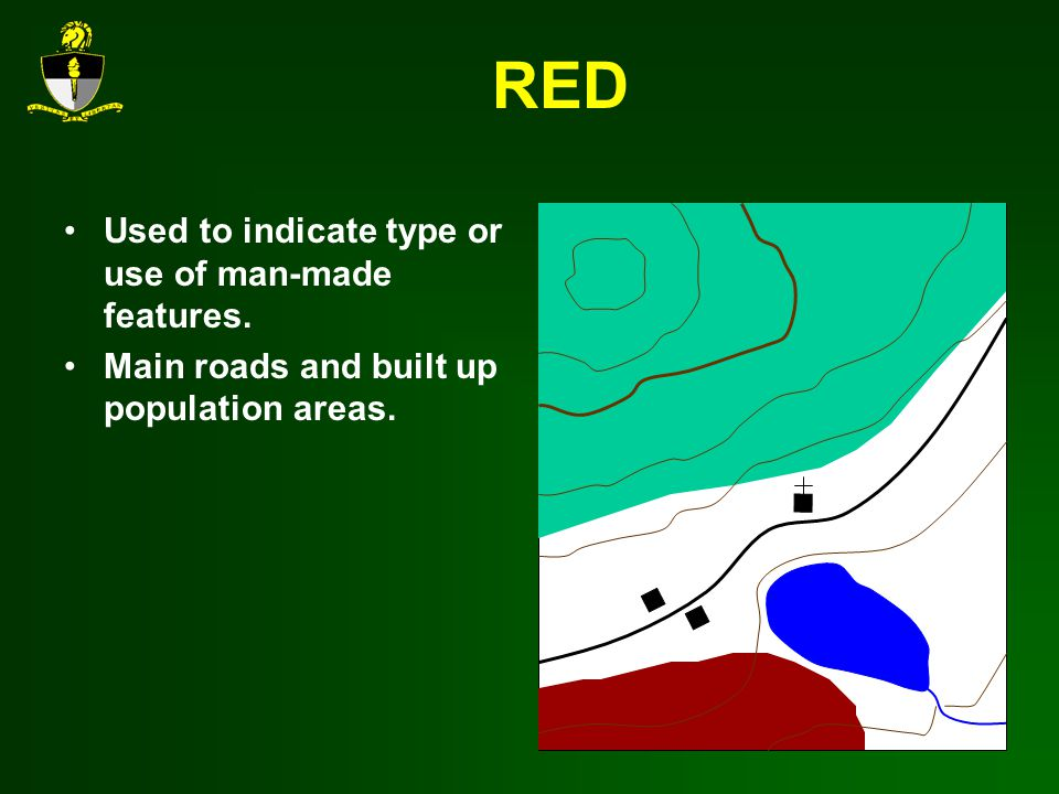 RED Used to indicate type or use of man-made features. Main roads and built up population areas.