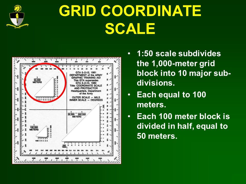 GRID COORDINATE SCALE 1:50 scale subdivides the 1,000-meter grid block into 10 major sub- divisions.