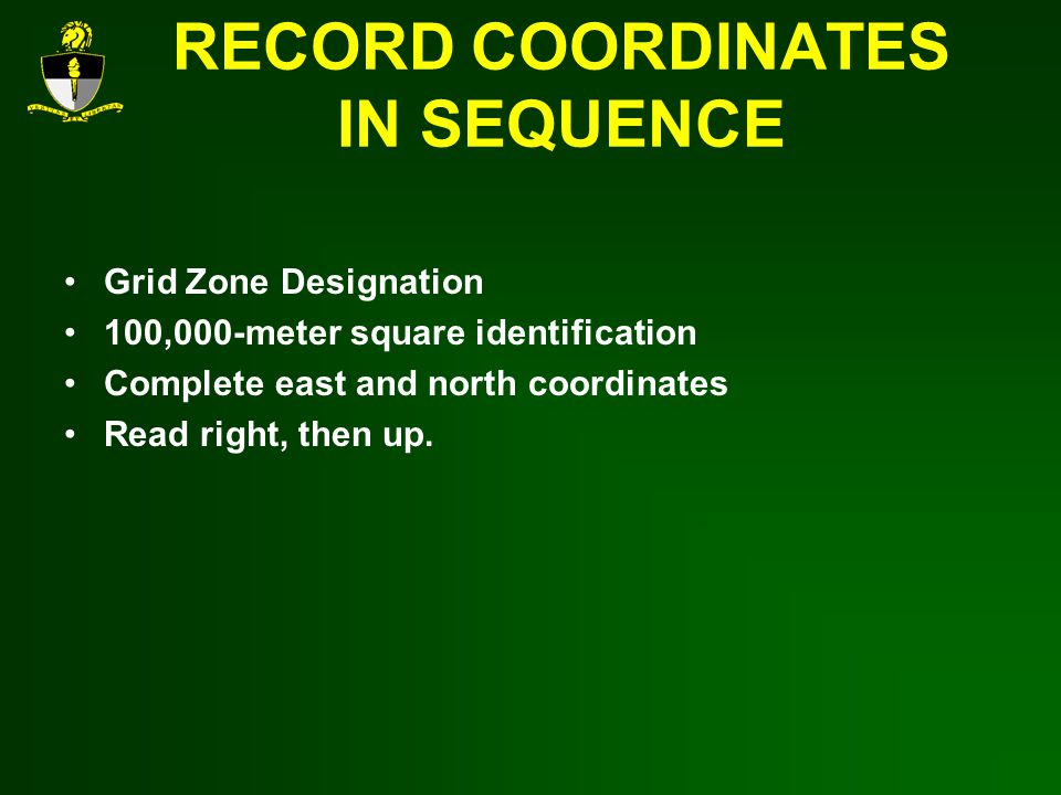 RECORD COORDINATES IN SEQUENCE Grid Zone Designation 100,000-meter square identification Complete east and north coordinates Read right, then up.