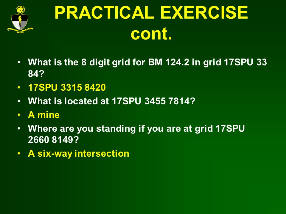 PRACTICAL EXERCISE cont.What is the 8 digit grid for BM 124.2 in grid 17SPU 33 84.