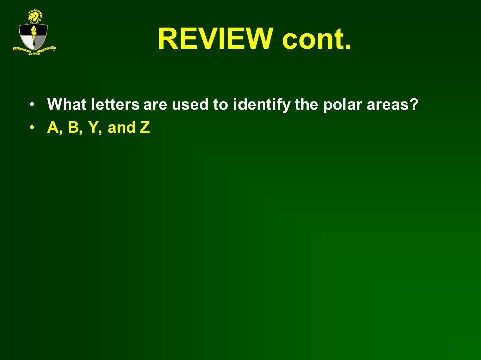 REVIEW cont. What letters are used to identify the polar areas? A, B, Y, and Z