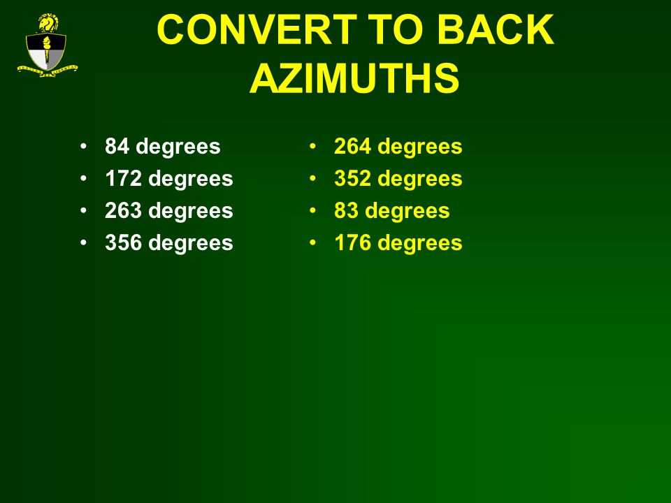 CONVERT TO BACK AZIMUTHS 84 degrees 172 degrees 263 degrees 356 degrees 264 degrees 352 degrees 83 degrees 176 degrees