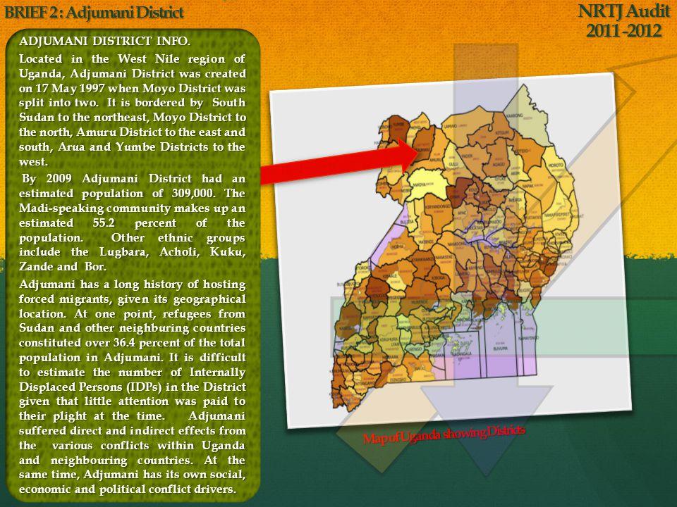 Map of Uganda showing Districts ADJUMANI DISTRICT INFO.