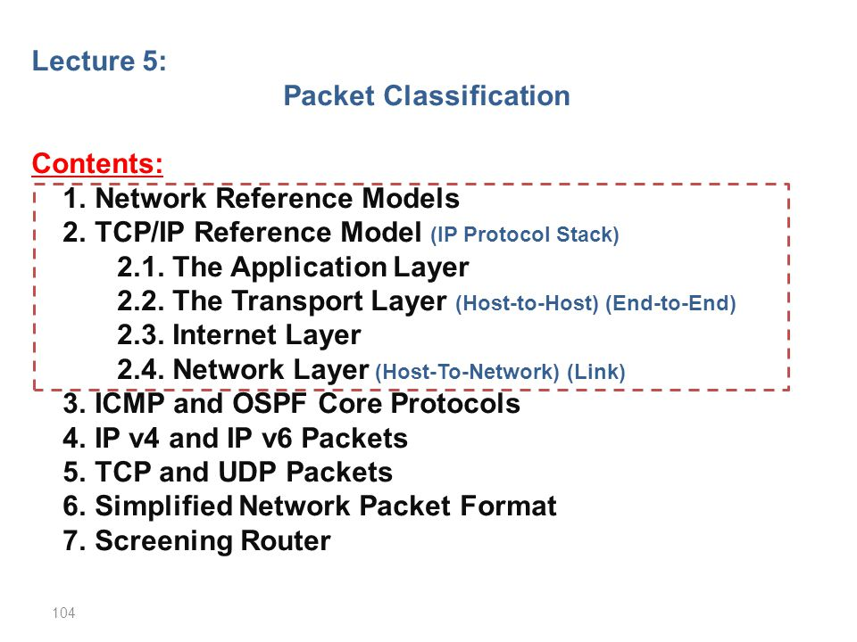 Lecture 5: Packet Classification Contents: 1. Network Reference Models 2. TCP/IP Reference Model (IP Protocol Stack) 2.1. The Application Layer 2.2. T