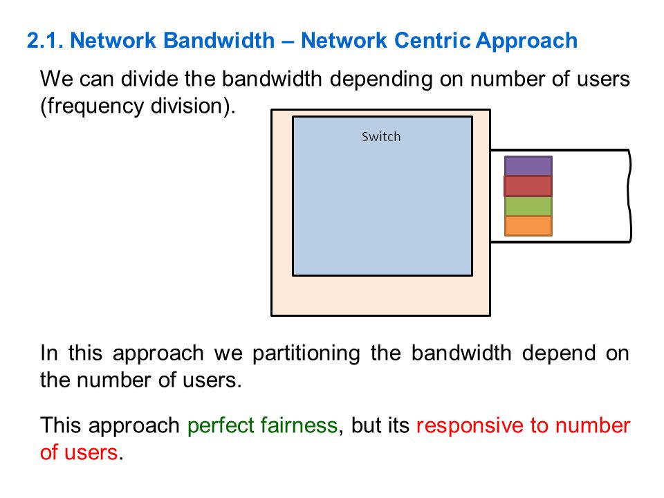 2.1. Network Bandwidth – Network Centric Approach We can divide the bandwidth depending on number of users (frequency division). Switch In this approa