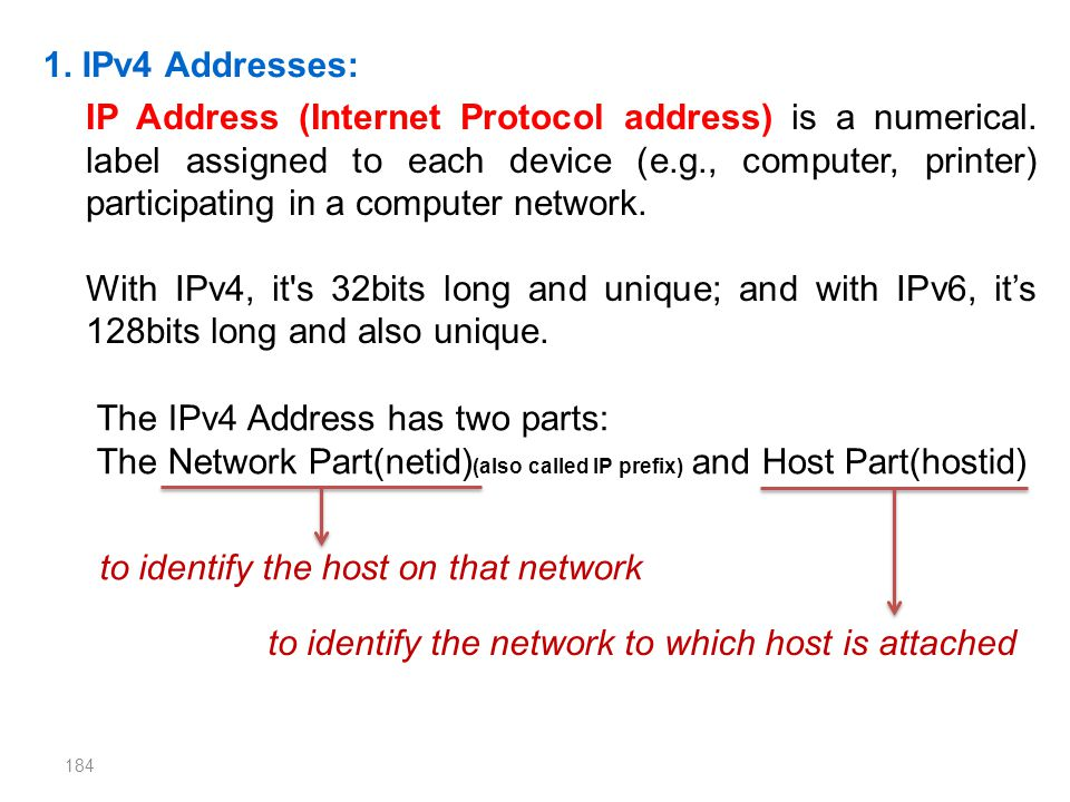 IP Address (Internet Protocol address) is a numerical. label assigned to each device (e.g., computer, printer) participating in a computer network. Wi