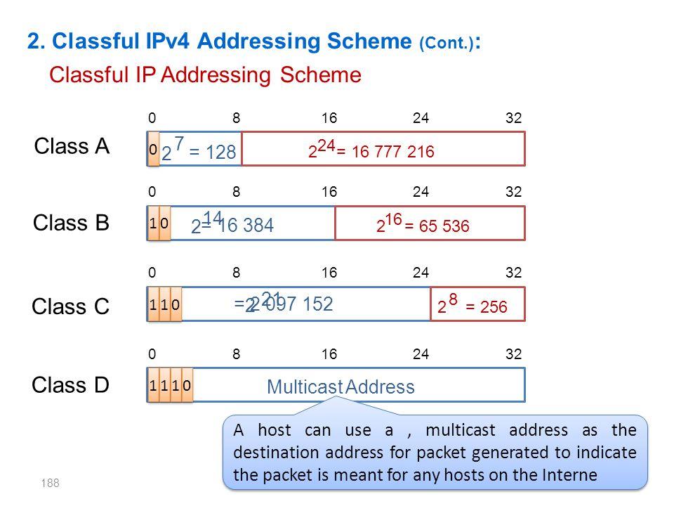 188 2. Classful IPv4 Addressing Scheme (Cont.) : Classful IP Addressing Scheme 0 8 16 24 32 0 0 1 1 0 0 1 1 1 1 0 0 1 1 1 1 1 1 0 0 2 7 = 128 2 14 = 1