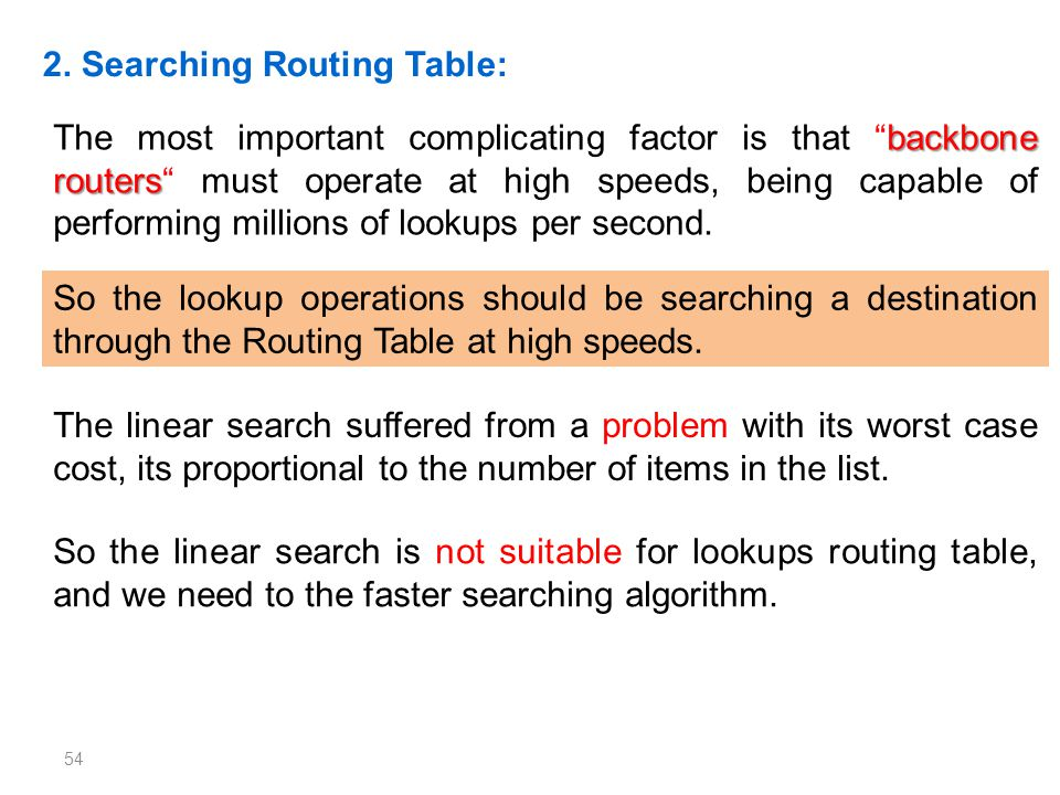 54 2. Searching Routing Table: backbone routers The most important complicating factor is that backbone routers must operate at high speeds, being cap