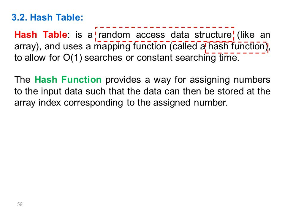 59 3.2. Hash Table: Hash Table: is a random access data structure (like an array), and uses a mapping function (called a hash function), to allow for
