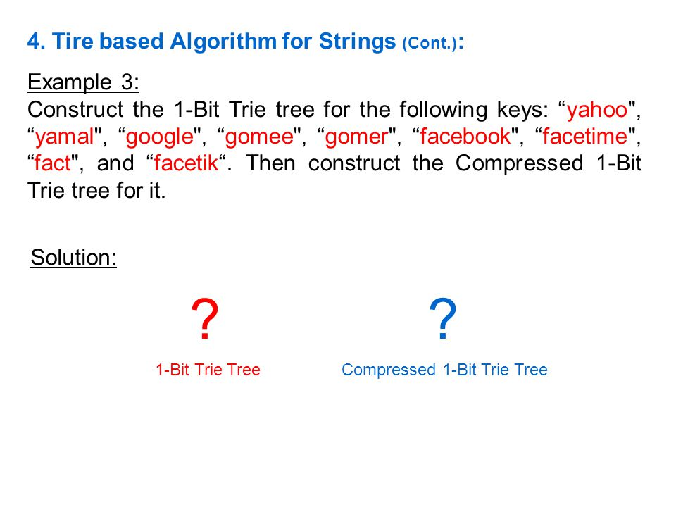 Example 3: Construct the 1-Bit Trie tree for the following keys: yahoo