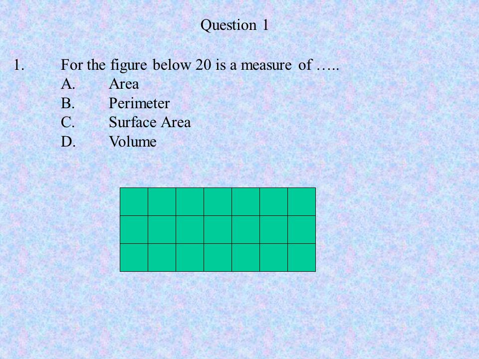 Question 1 1.For the figure below 20 is a measure of ….. A. Area B. Perimeter C.Surface Area D.Volume