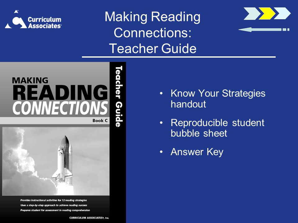 Making Reading Connections: Teacher Guide Know Your Strategies handout Reproducible student bubble sheet Answer Key