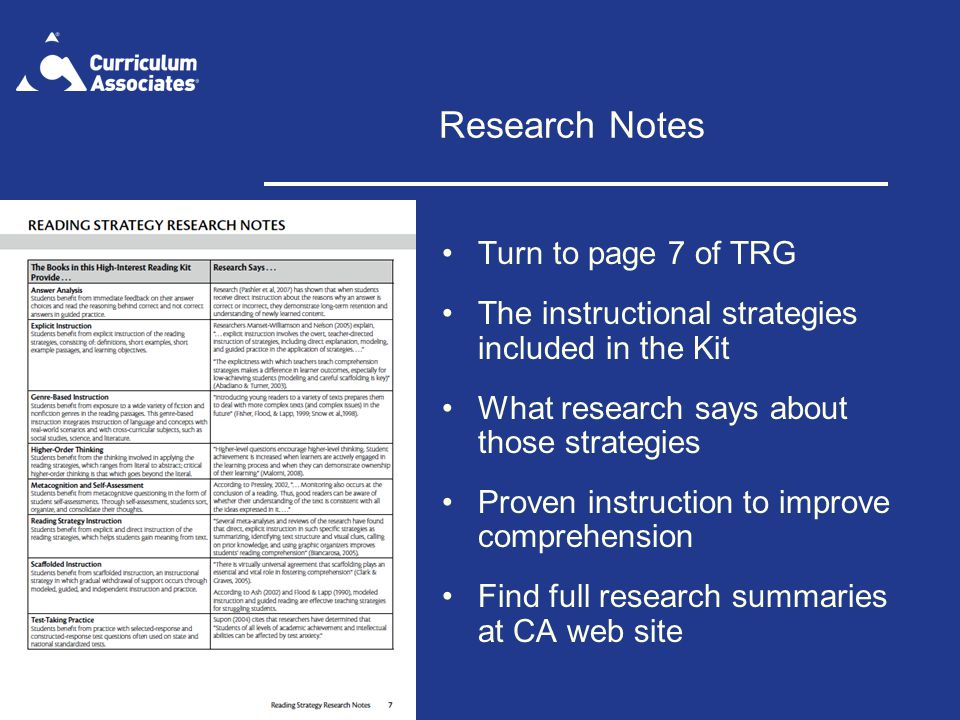 Research Notes Turn to page 7 of TRG The instructional strategies included in the Kit What research says about those strategies Proven instruction to improve comprehension Find full research summaries at CA web site