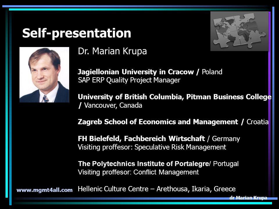 International Logistics Management the course outline dr. Marian Krupa