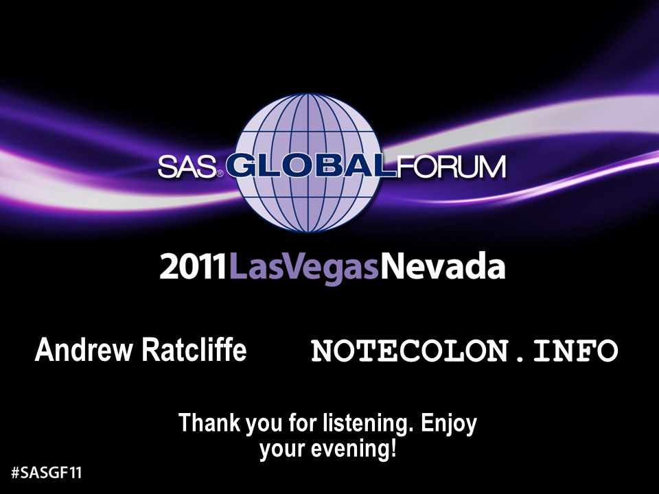 Thank you for listening. Enjoy your evening! Andrew Ratcliffe NOTECOLON.INFO