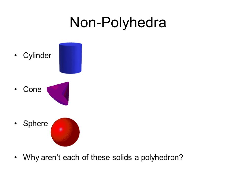 Non-Polyhedra Cylinder Cone Sphere Why arent each of these solids a polyhedron?