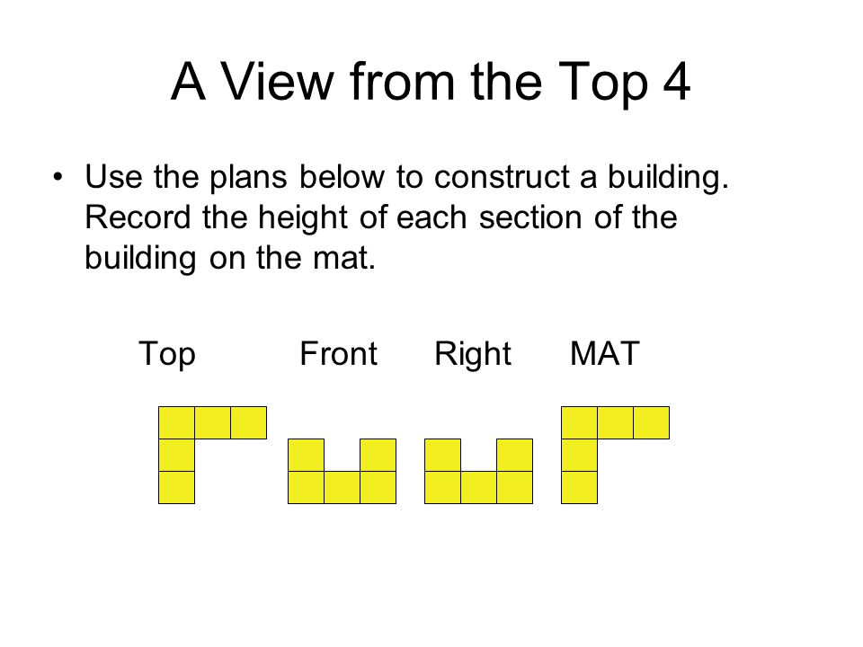 A View from the Top 4 Use the plans below to construct a building. Record the height of each section of the building on the mat. Top Front RightMAT