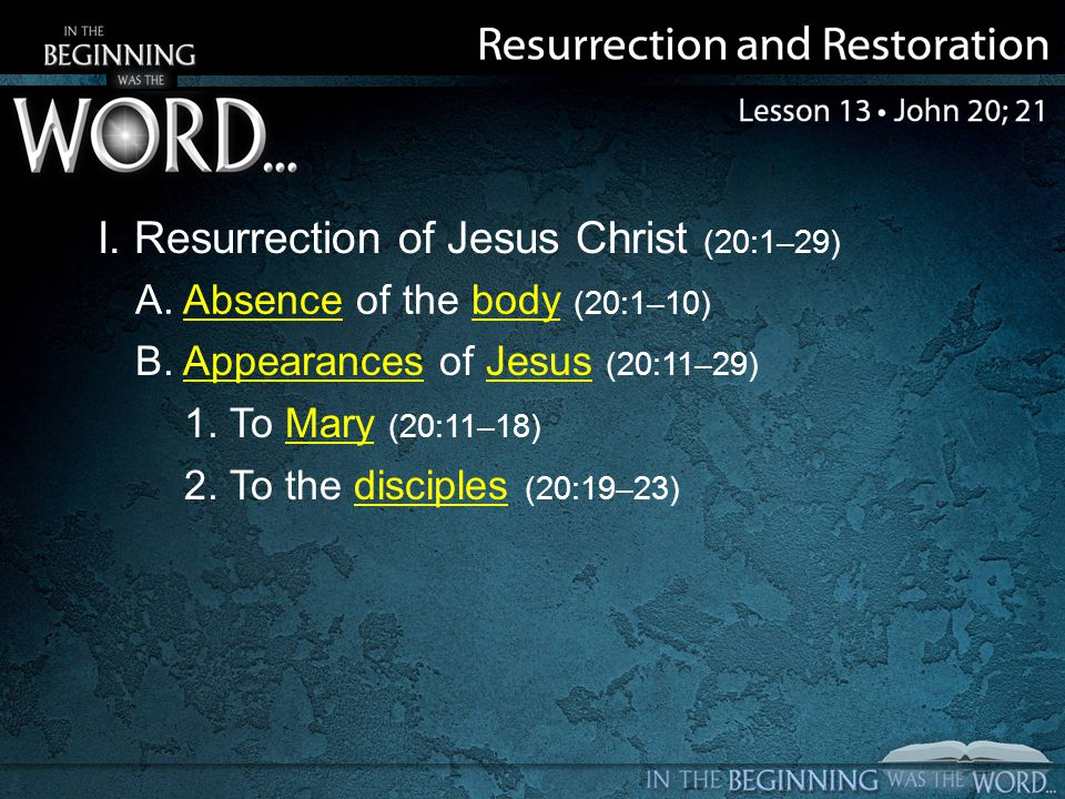 I. Resurrection of Jesus Christ (20:1–29) A. Absence of the body (20:1–10) B.