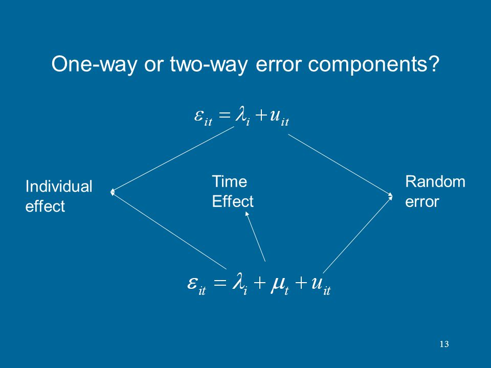 13 One-way or two-way error components? Individual effect Random error Time Effect