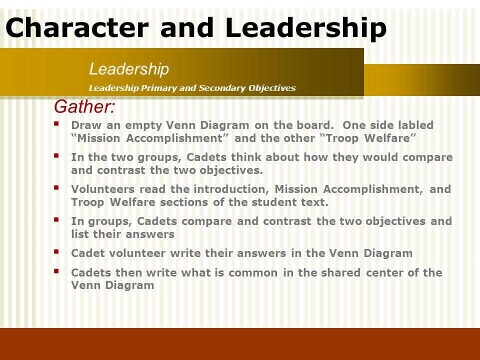 Character and Leadership Leadership Primary and Secondary Objectives Leadership Gather: Draw an empty Venn Diagram on the board. One side labled Missi