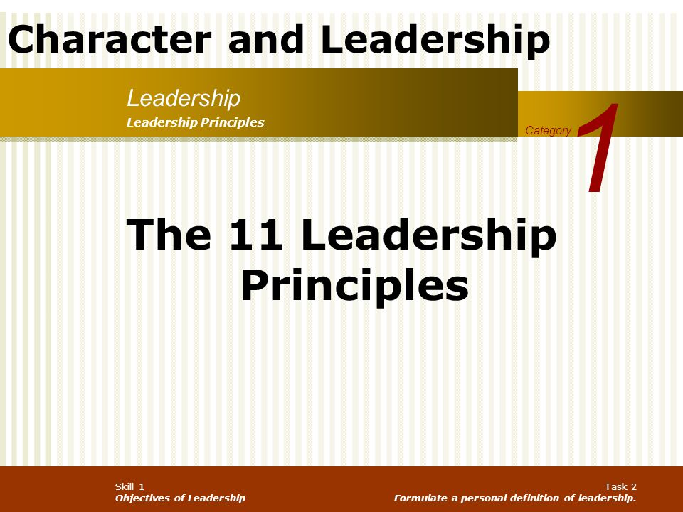 Character and Leadership Skill 1 Objectives of Leadership Task 2 Formulate a personal definition of leadership. Leadership 1 Category Leadership Princ