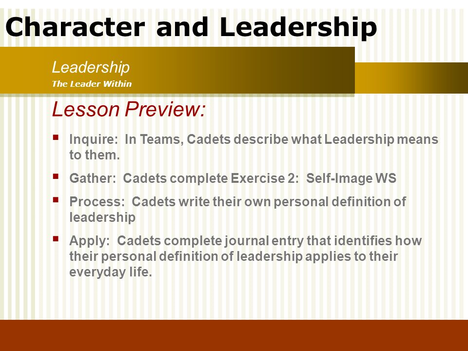 Character and Leadership Lesson Preview: Inquire: In Teams, Cadets describe what Leadership means to them. Gather: Cadets complete Exercise 2: Self-Im