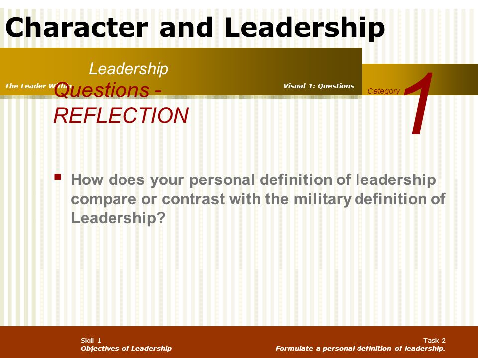 Character and Leadership Skill 1 Objectives of Leadership Task 2 Formulate a personal definition of leadership. Leadership 1 Category The Leader Withi