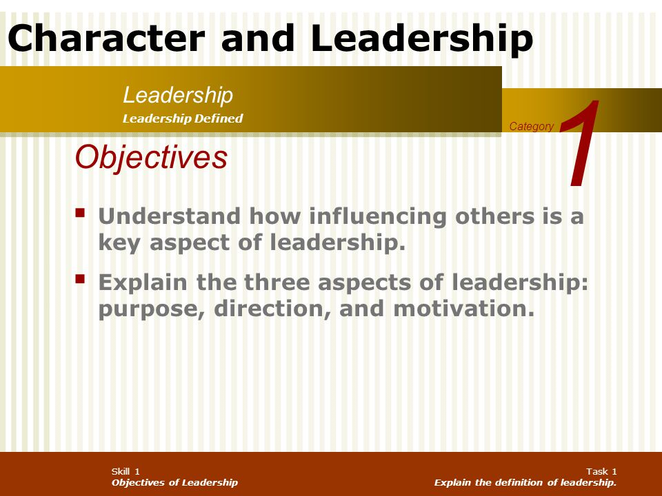 Character and Leadership Skill 1 Objectives of Leadership Task 1 Explain the definition of leadership.