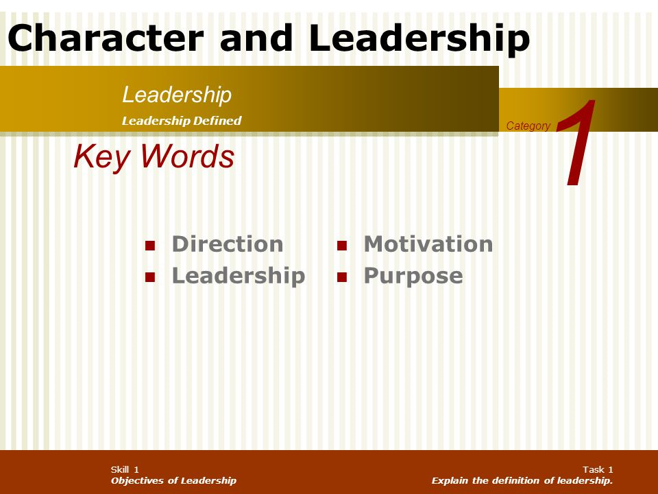 Character and Leadership Army Values Honest in word and deed Completeness Wholeness Leads to consistency among principles, values and behavior Candid and sincere w/peers, subordinates and superiors INTEGRITY