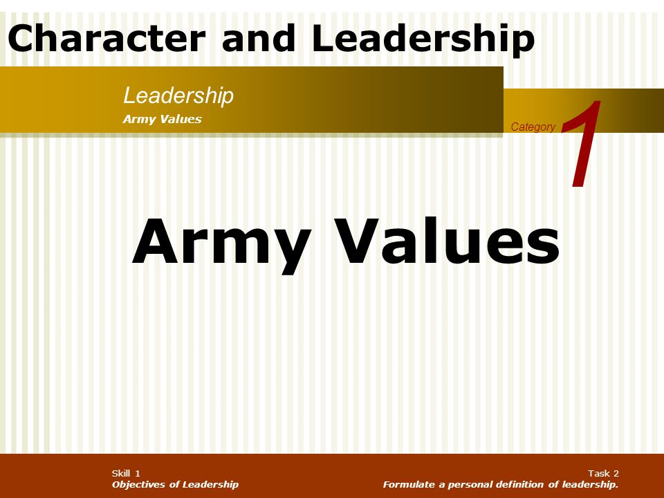Character and Leadership Skill 1 Objectives of Leadership Task 2 Formulate a personal definition of leadership. Leadership 1 Category Army Values