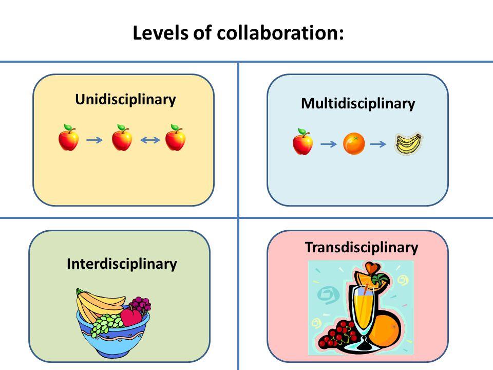 Unidisciplinary Multidisciplinary Interdisciplinary Transdisciplinary Levels of collaboration: