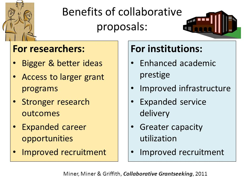 Forms of Collaboration Institution/Institution: Partnerships to achieve a mutual goal EX: NIH Bridges to the Baccalaureate (R25) Network support for institutions or researchers EX: NIH IDeA Networks of Biomedical Research Excellence (INBRE NSF Louis Stokes Alliances for Minority Participation (LSAMP) Training programs to encourage interdisciplinary research EX:NIH NRSA Institutional Training Grant (T32) Targeted research programs focused on core theme EX:NIH Building Interdisciplinary Research Careers in Womens Health NSF Science, Engineering and Education for Sustainability (SEES) Institutional capacity building grants EX: NIH Science Education Partnership (SEPA R25) NSF ADVANCE: Increasing the Participation of Women in Academic and Science Careers