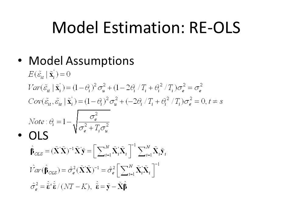 Model Estimation: RE-OLS Model Assumptions OLS