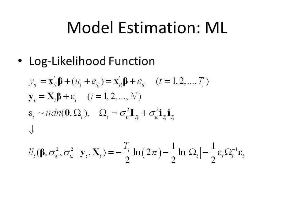 Model Estimation: ML Log-Likelihood Function
